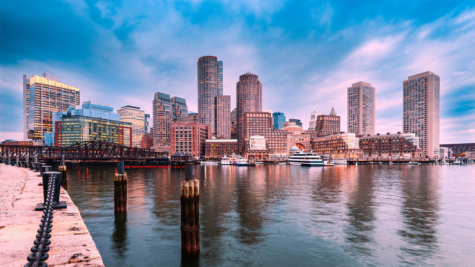 Boston, Massachusetts, USA city skyline at the harbor.